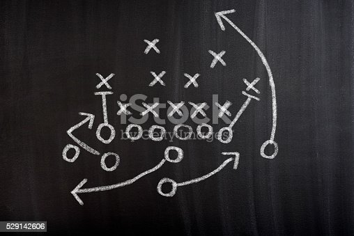 istock Football Strategy Game plan on blackboard 529142606