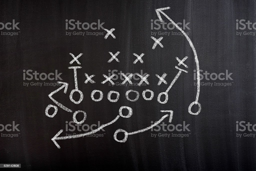 Football Strategy Game plan on blackboard stock photo