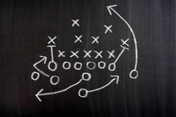 football strategy game plan on blackboard - chalk drawing stock photos and pictures