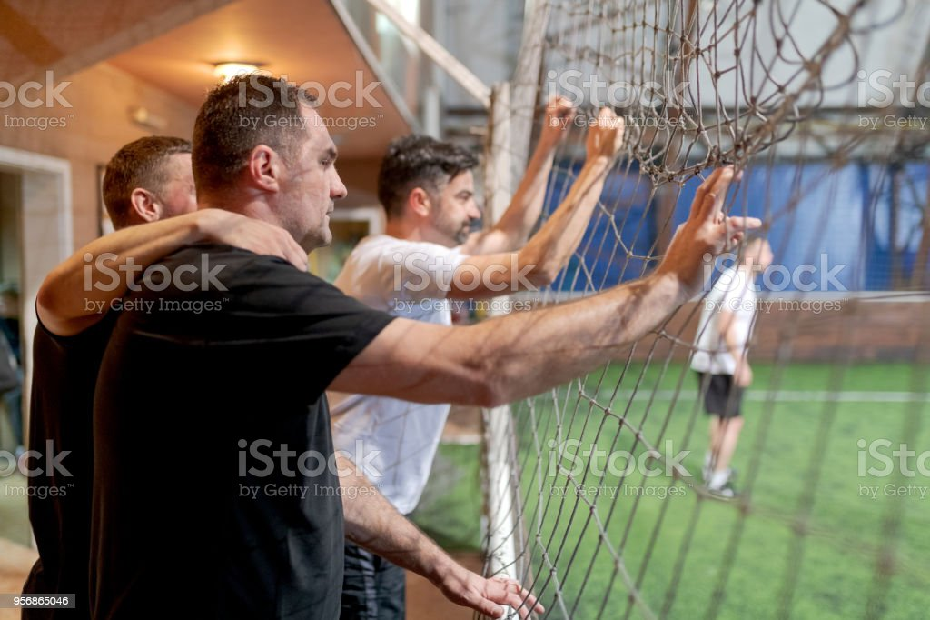 Football supporters at match stock photo