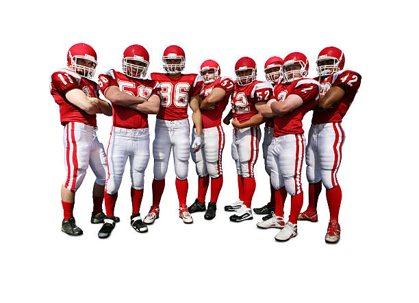 Football Team with Clipping Path Football players with clipping path. football lineman stock pictures, royalty-free photos & images