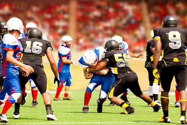 Football team's running back carries ball. Defenders. Stadium fans. Field. stock photo