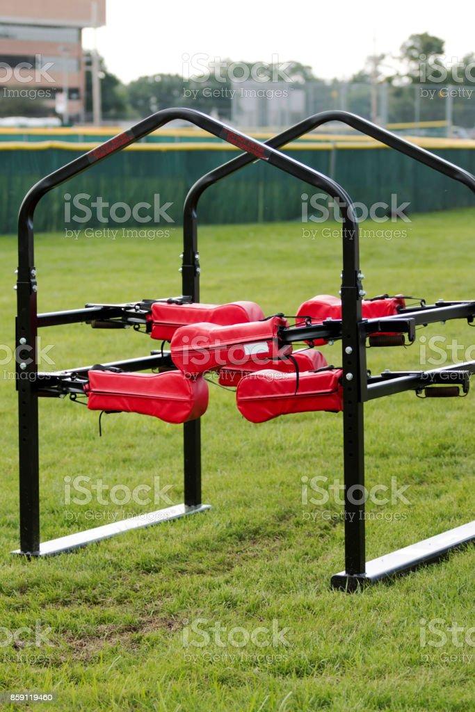 Football training equipment stock photo