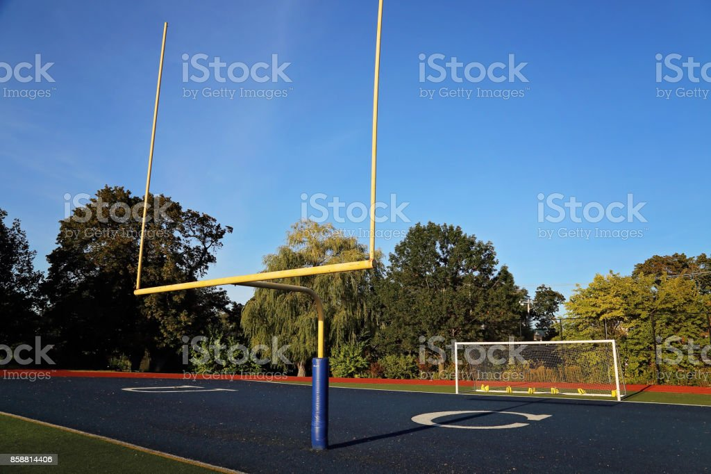 Football training field in college campus stock photo