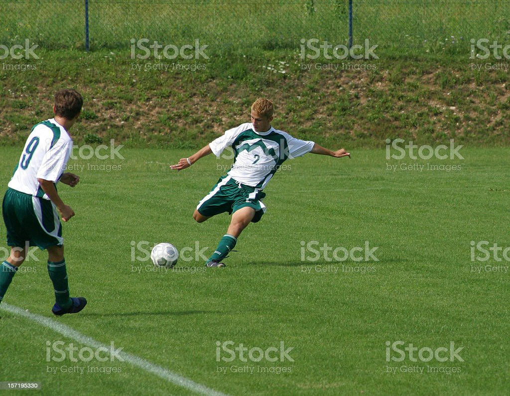 Football - Two soccer players playe the game royalty-free stock photo