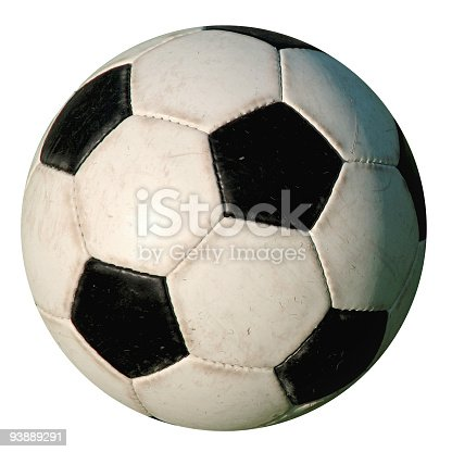 Soccer Football : Used isolated old-style soccer ball on white background