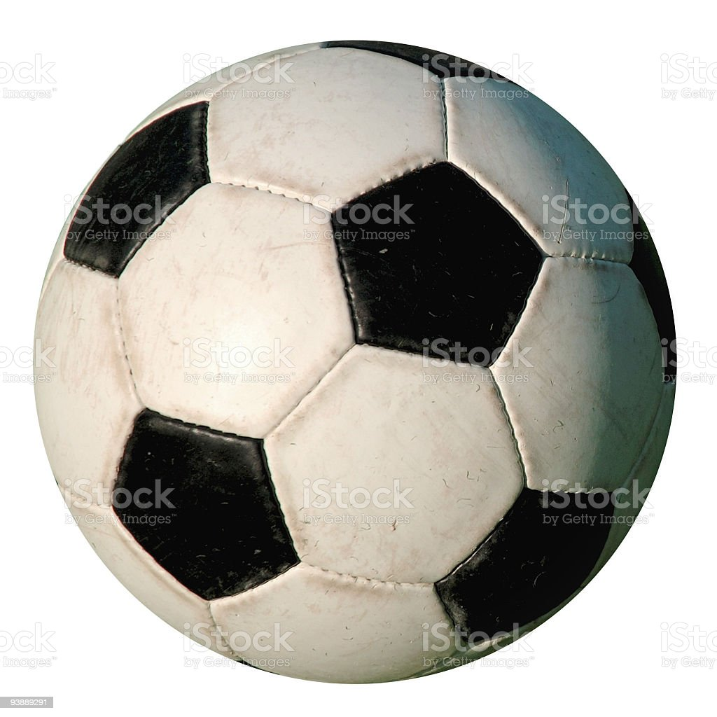 Football - Used Isolated old-style soccer ball on white background stock photo