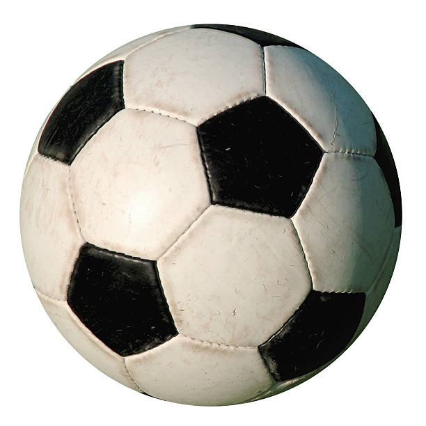 football - used isolated old-style soccer ball on white background - soccer stock photos and pictures