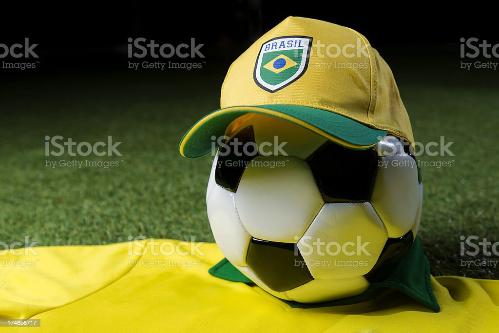 Football with brazilian jersey and cap royalty-free stock photo