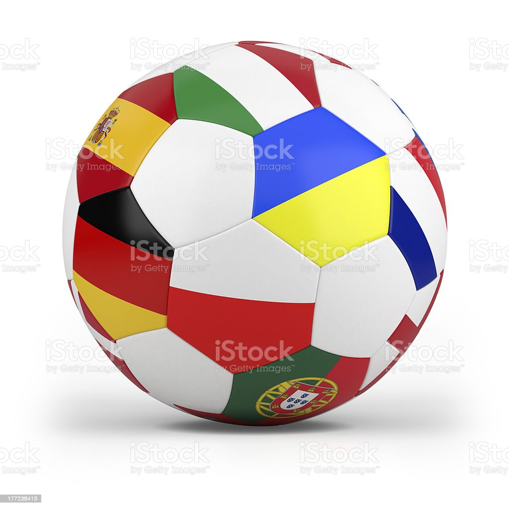 football with european flags royalty-free stock photo