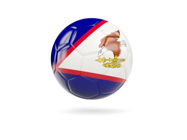 Football with flag of american samoa stock photo