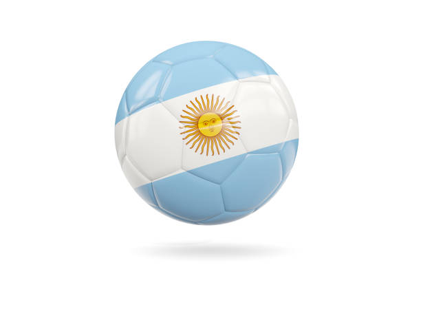 Football with flag of argentina stock photo