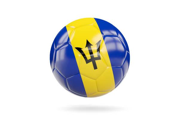 Football with flag of barbados stock photo