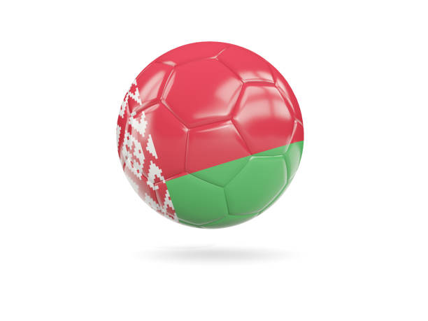 Football with flag of belarus stock photo