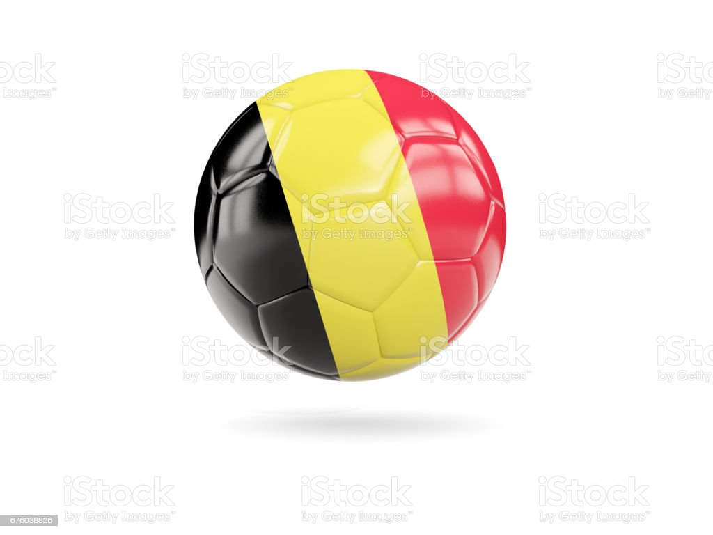Football with flag of belgium stock photo