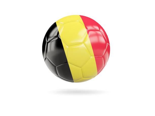 Football with flag of belgium stock photo