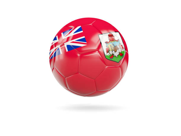 Football with flag of bermuda stock photo