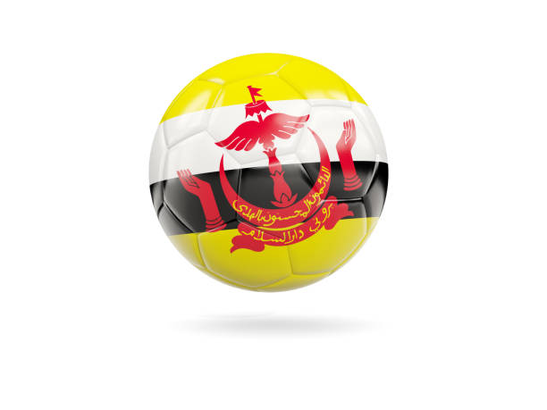 Football with flag of brunei stock photo