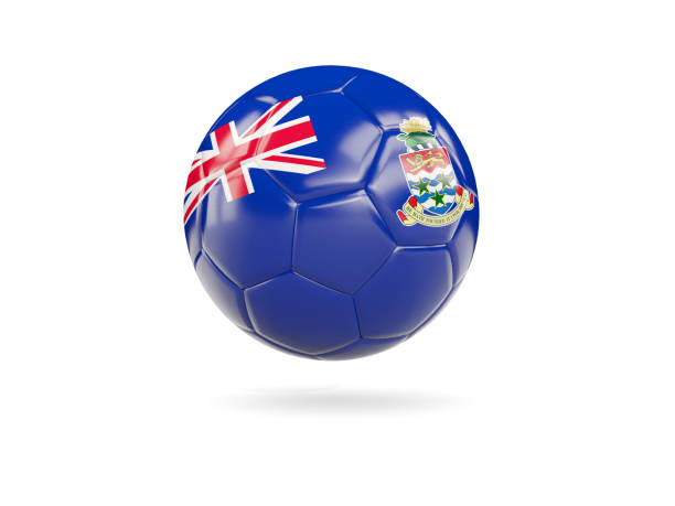 Football with flag of cayman islands stock photo