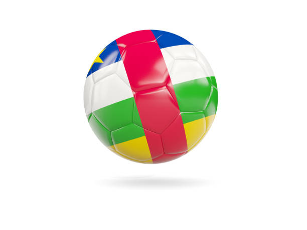 Football with flag of central african republic stock photo