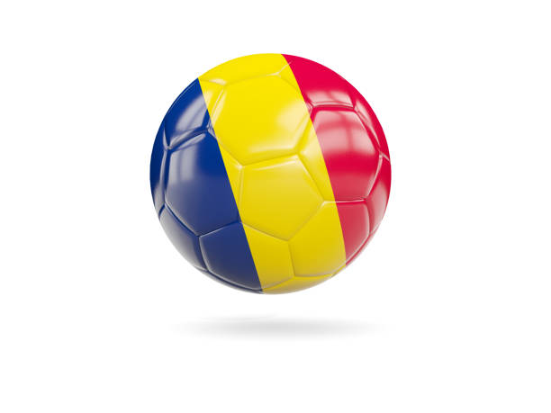 Football with flag of chad stock photo