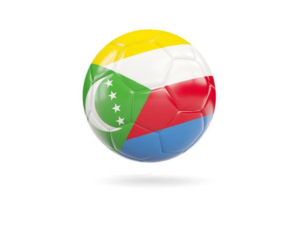 Football with flag of comoros stock photo