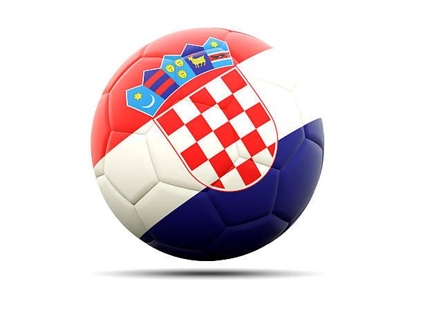 Fútbol con la bandera de croacia - foto de stock