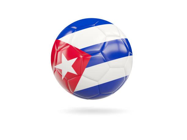 Football with flag of cuba stock photo