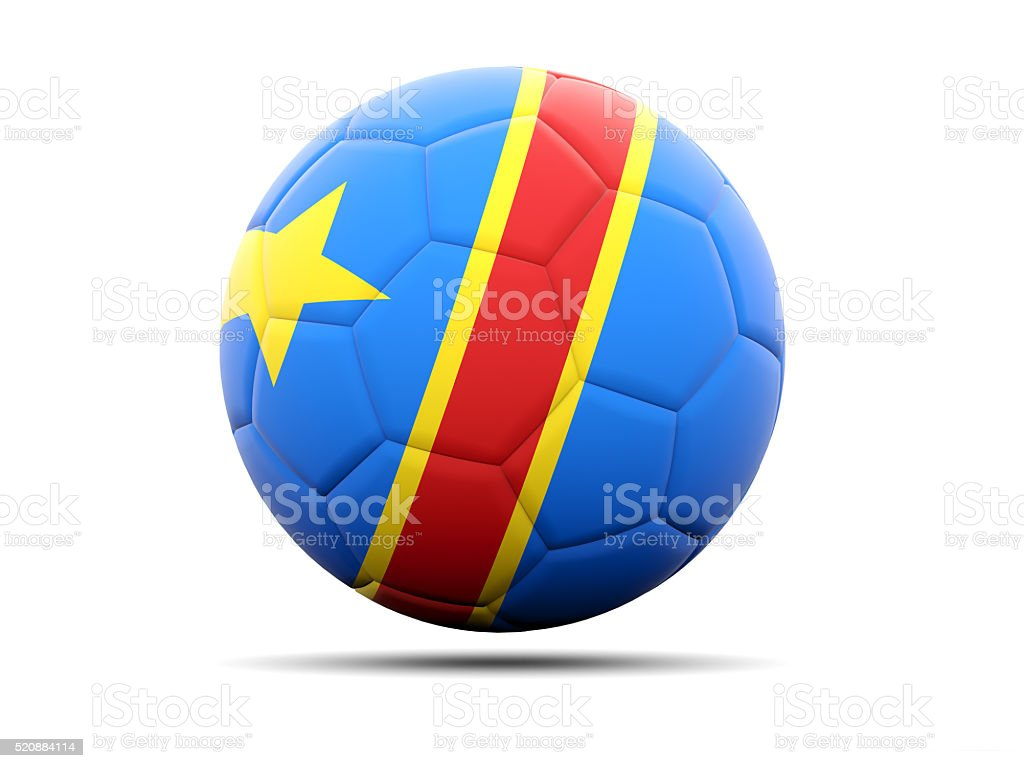 Football with flag of democratic republic of the congo stock photo