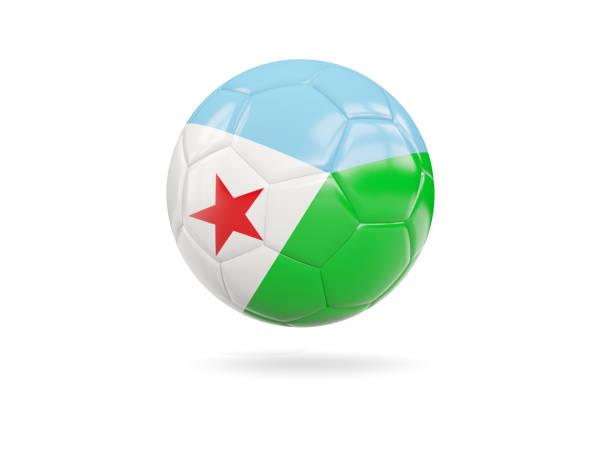 Football with flag of djibouti stock photo
