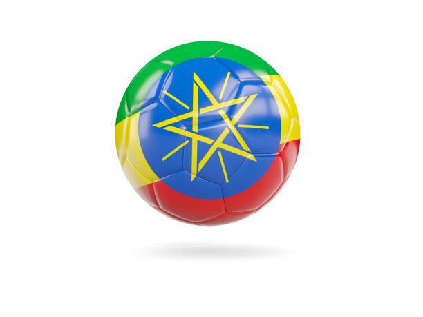 Football with flag of ethiopia stock photo