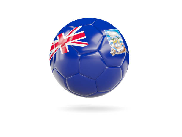 Football with flag of falkland islands stock photo