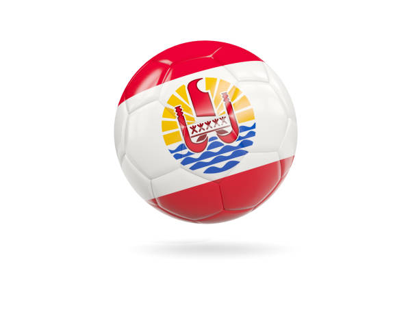 Football with flag of french polynesia stock photo