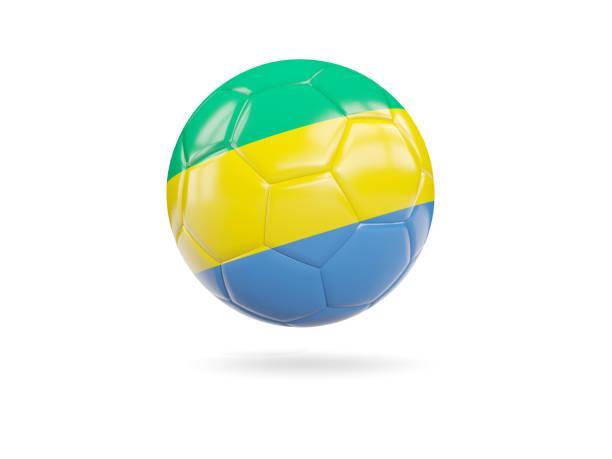 Football with flag of gabon stock photo
