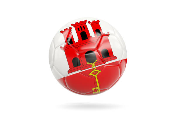 Football with flag of gibraltar stock photo