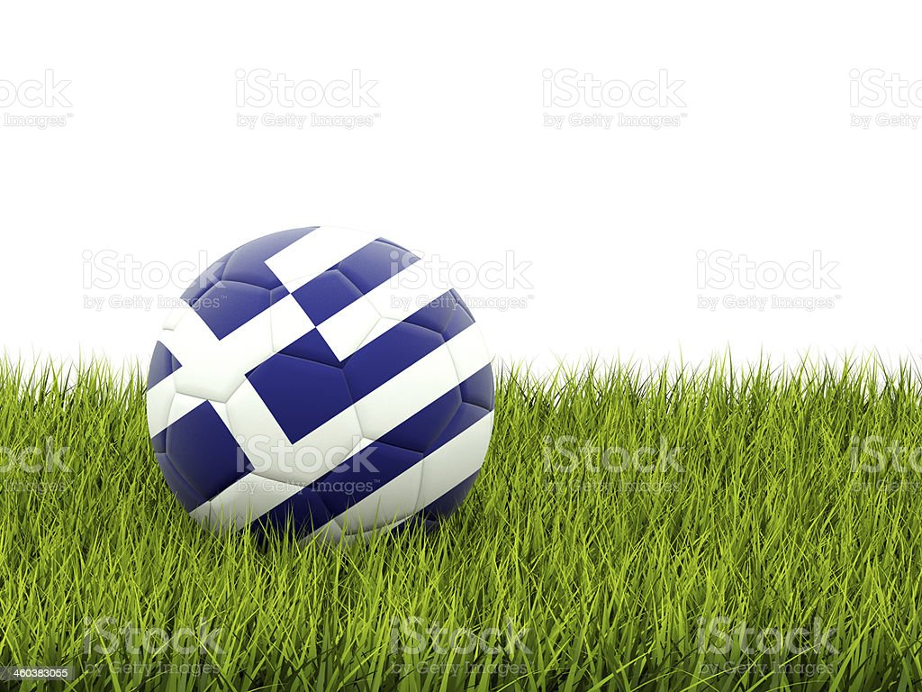 Football with flag of greece royalty-free stock photo