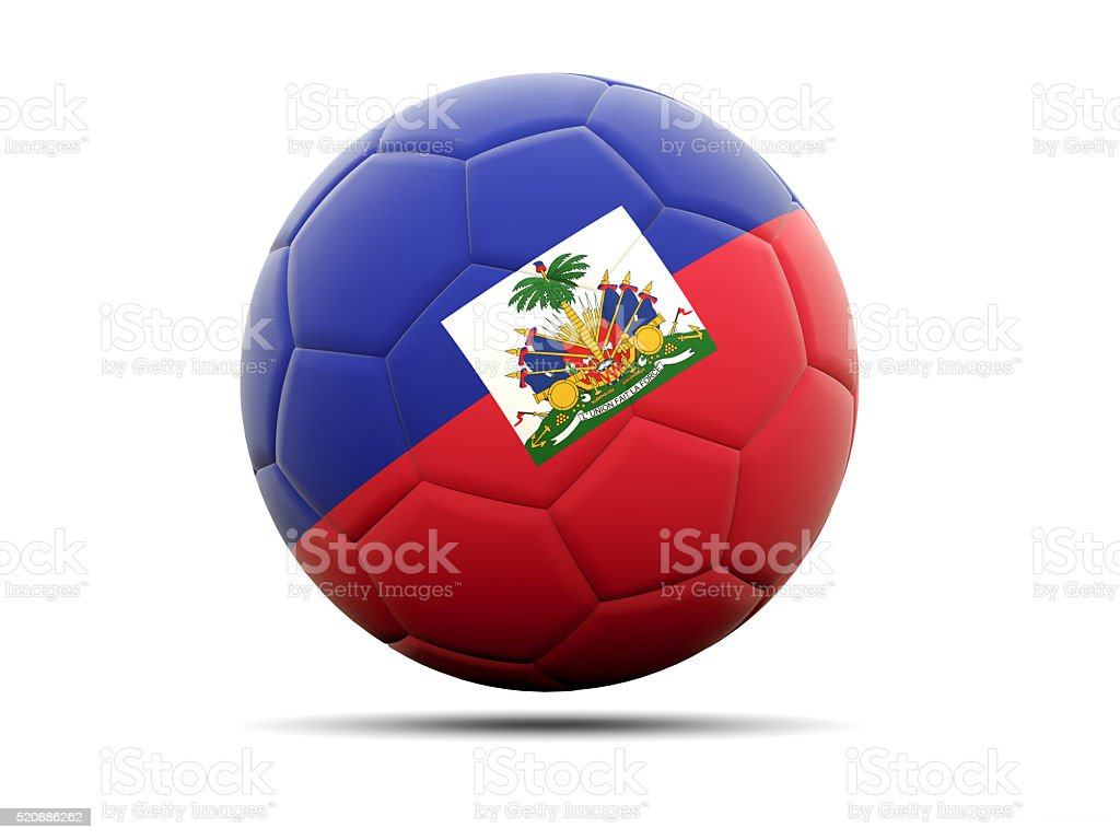 Football with flag of haiti stock photo