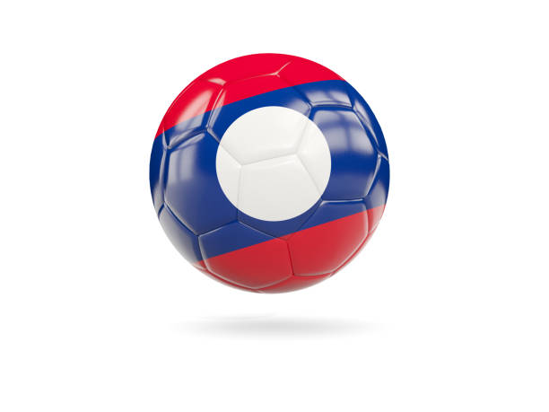 Football with flag of laos stock photo