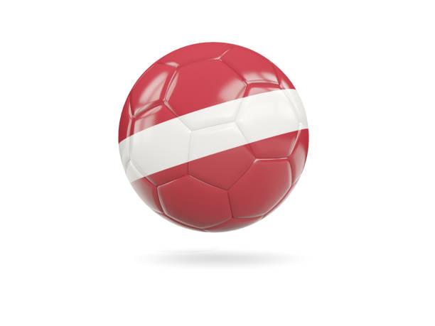 Football with flag of latvia stock photo
