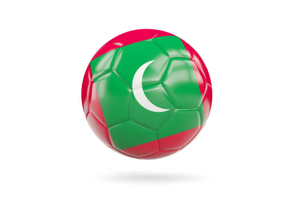 Football with flag of maldives stock photo