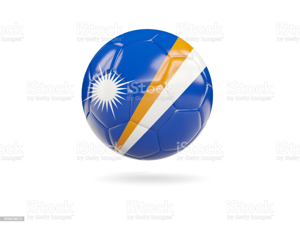 Football with flag of marshall islands stock photo