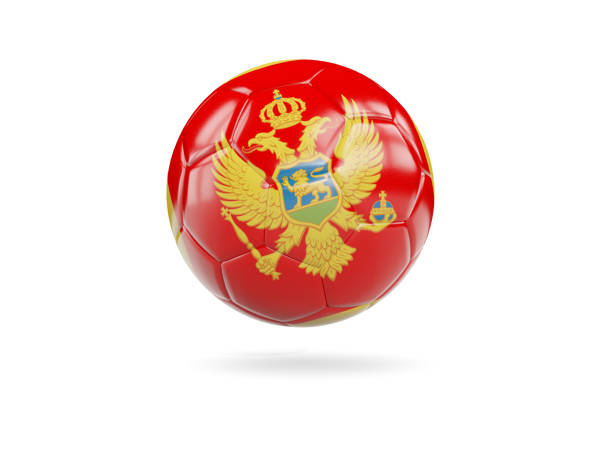 Football with flag of montenegro stock photo