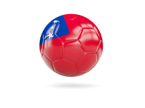 Football with flag of samoa stock photo