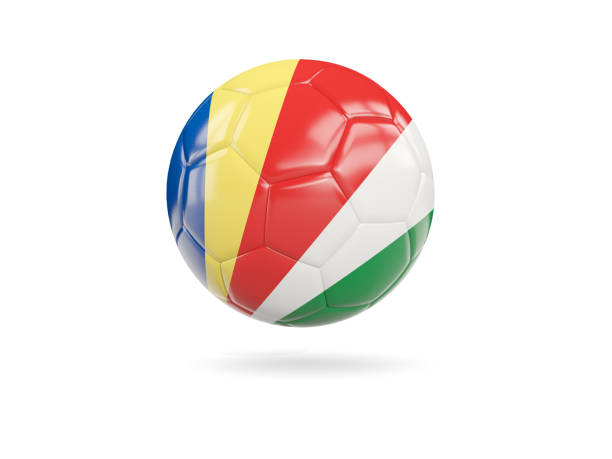 Football with flag of seychelles stock photo