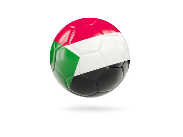 Football with flag of sudan stock photo
