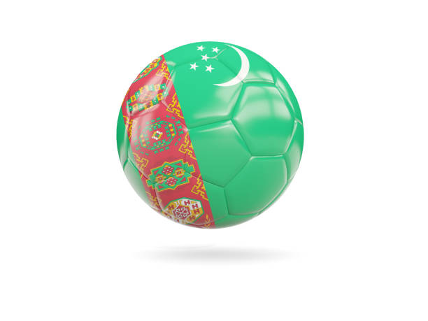 Football with flag of turkmenistan stock photo