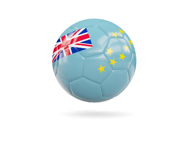 Football with flag of tuvalu stock photo