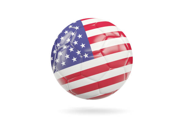Football with flag of united states of america stock photo