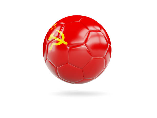 Football with flag of ussr stock photo