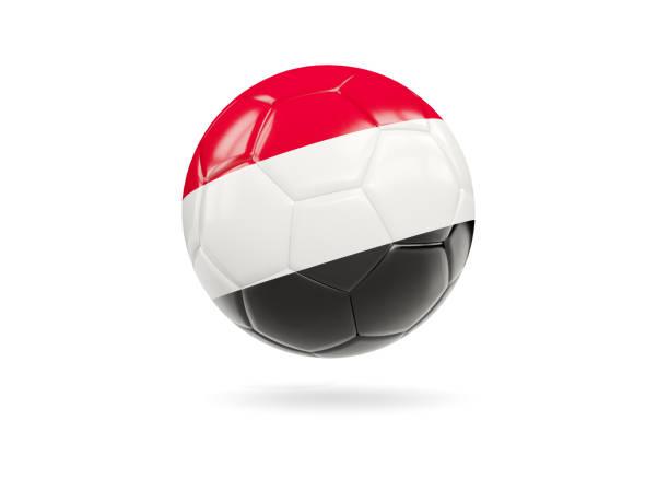 Football with flag of yemen stock photo